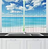 interesting unique kitchen island Ambesonne Tropical Kitchen Curtains, Exotic Beach with Vivid Sky Sunny Day Holiday Relaxing Ocean Island Scenery, Window Drapes 2 Panels Set for Kitchen Cafe, 55 W X 39 L Inches, Sky Blue Aqua