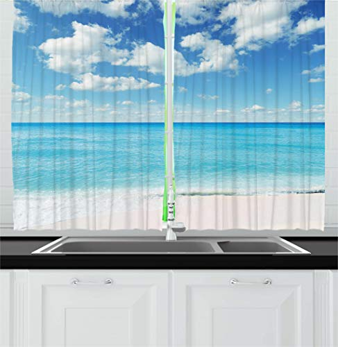 Ambesonne Tropical Kitchen Curtains, Exotic Beach with Vivid Sky Sunny Day Holiday Relaxing Ocean Island Scenery, Window Drapes 2 Panels Set for Kitchen Cafe, 55 W X 39 L Inches, Sky Blue Aqua