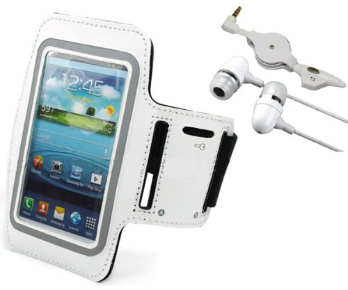 White Workout Sports Armband Running Gym Case + Retractable Earbuds Headset for AT&T Samsung Galaxy Note 3 SM-N900A, Verizon Samsung Galaxy Note III SM-N900V, T-Mobile Samsung Galaxy Note3 SM-N900T, Sprint Samsung Galaxy Note 3 SM-N900P, US Celular Galaxy Note 3 SM-N900R4, Galaxy Note 3 N9000 / N9005 - Leather White Digital Player Case