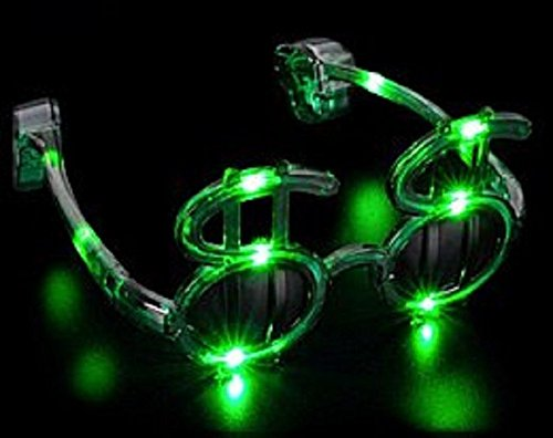 [1 Pair of LED Flashing Light Up Dollar Sign Cash Money Party Glasses Shades (Green)] (Pimp Costume For Kids)