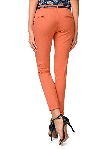 oodji Ultra Mujer Pantalón Chino con Cinturón Perforado Estrellas Naranja (5900N)