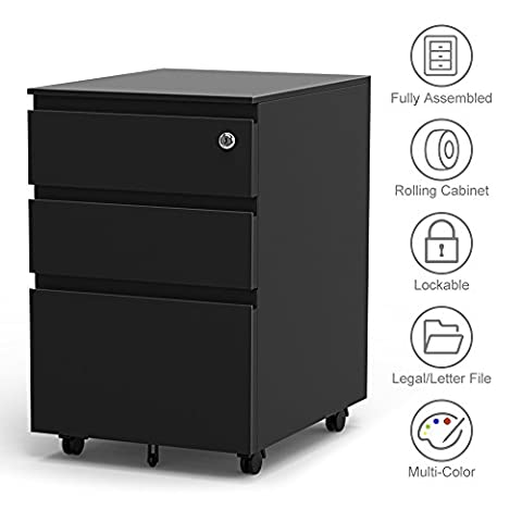 3-Drawer Filling Cabinet, Metal Vertical File Cabinet with Hanging ...