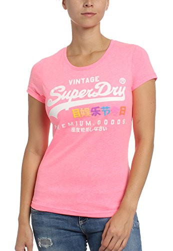 Donna Puff Superdry Entry Goods Shirt Tee White Pink Premium T 0T60qwg