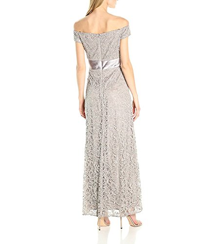 True Meaning Elegant Women's Long Off the Shoulder Lace Gown, Pewter Frost, 16 by True Meaning Dresses