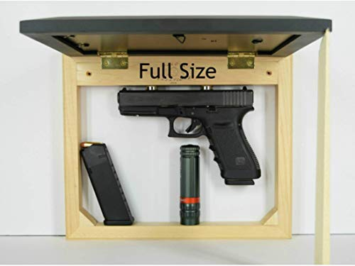 Hidden gun storage case, concealment furniture cabinet, wall pistol safe, photo sliding frame, secure firearm shelf, hardwood magnet light