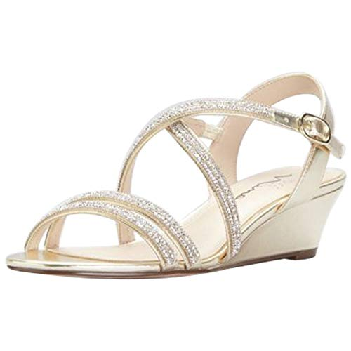 David's Bridal Crystal Crisscross Strap Low Wedge Sandals Style Falicia, Champagne, 8 ()