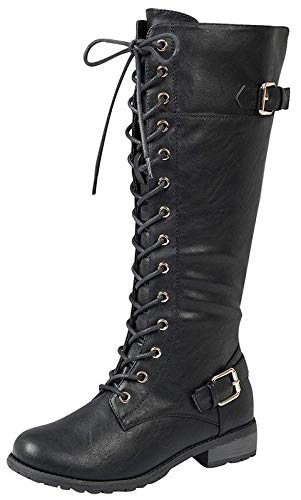 Forever Link Mango 27 Womens Knee High Buckle Riding Boots,Black,6.5