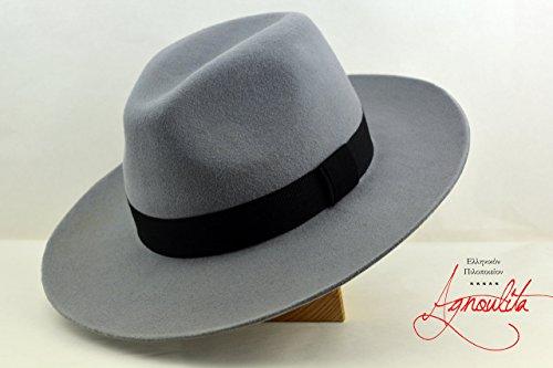 Light Grey Montgomery Fedora - Wide Brim Wool Felt Handmade Fedora Hat