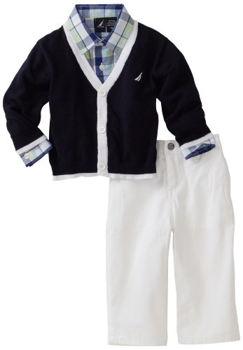 Nautica Baby Boys'' 3 Piece Cardigan Sweater Set