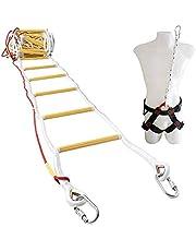 Brandtrap voor noodgevallen 10 m (32 ft) Vuurbestendige touwladder met karabijnhaken, veiligheidskoord en veiligheidsgordel - herbruikbaar - draagvermogen tot 900 kg