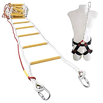 Image of Home Improvements ISOP Emergency Fire Escape Rope Ladder for 3-4 Story Homes 32 ft Safety Ladders with Carabiners & Safety Harness - Patented (32ft with Harness)