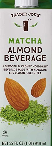 Trader Joe's Almond Milk Beverage Trio: Matcha Almond Beverage, Blueberry Lavender Flavored Almond Beverage, Unsweetened Almond Cashew and Macadamia Nut Beverage