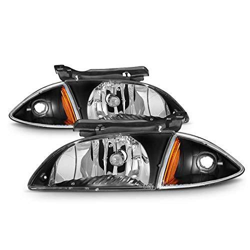 Xtune 2000-2002 Cavalier Black Housing Headlights and Corner Set Pair L+R 2001 ()