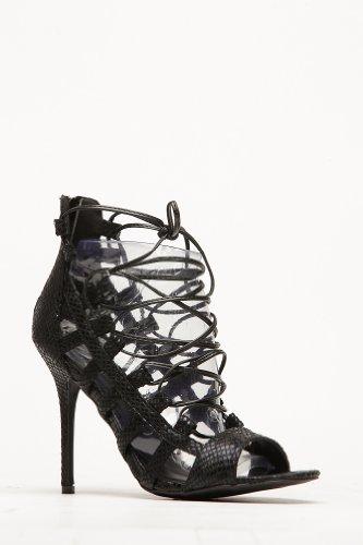Wild Diva Adele-67 Black Pink Snake Corset Caged Stiletto Heel (7.5, black)