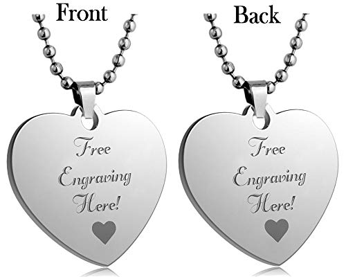 Interway Trading Personalized Regular Size Custom Message Engraved Stainless Steel Necklace Dog Tag Pendant with 24 inch Chain,Velvet Giftpouch and Keyring (Heart Silver)