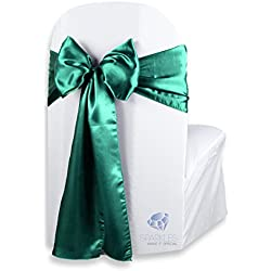 Sparkles Make It Special 100 pcs Satin Chair Cover Bow Sash - Emerald Green - Wedding Party Banquet Reception - 28 Colors Available