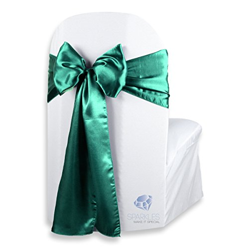 - Sparkles Make It Special 100 pcs Satin Chair Cover Bow Sash - Emerald Green - Wedding Party Banquet Reception - 28 Colors Available