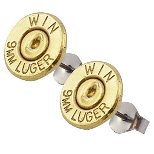 9mm bullet stud earrings - 6