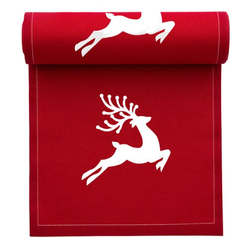 MYdrap SA11N2/701-2 Holiday Printed Cocktail Napkin, 4.5'' Length x 4.5'' Width, Red with White Reindeer (10 Rolls of 50) by MYdrap