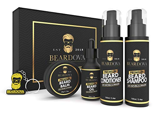 Beardova Men's Beard Grooming & Care Kit (5 Pc. Set) Oil, Balm, Shampoo Wash, Conditioner | Natural & Organic | Scented Facial Hair Cleansing & Shaping