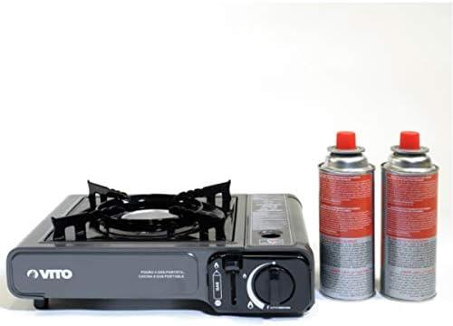 Rechaud gaz portable piezo + 2 cartouches gaz à baillonnette. Rechaud camping gaz butane propane