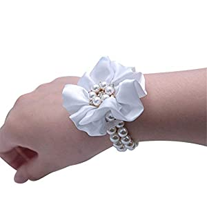 Flonding Wedding Bridal Wrist Corsage Bride Wrist Flower Corsages Pearl Stretch Bracelet Wristband for Girl Bridesmaid Prom Homecoming Hand Flowers Decor (White, Pack of 1) 85