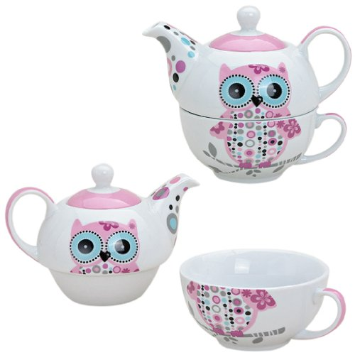 Tea for one Set Porzellan Teekanne mit Tasse Teeset Eule in Geschenkbox