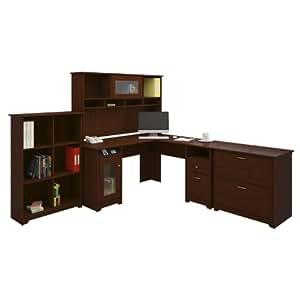 BUSH FURNITURE Bush Furniture Cabot L-Desk with Hutch/Bookcase/Lateral File, Harvest Cherry Finish