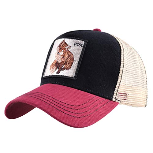 (Unisex Animal Mesh Trucker Hat Strapback Square Patch Baseball Caps (One Size, Red Black Fox))