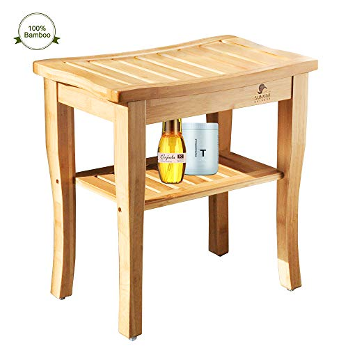 Ollypulse Bamboo Shower Bench, Spa Bath Seat Stool with 2-Tier Storage Shelf Wooden Shower Spa Chair Seat for Indoor Outdoor