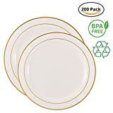 Party Joy 200-Piece Plastic Dinnerware Set | Gold Lines Collection | (100) Dinner Plates & (100) Salad Plates | Heavy Duty Premium Plastic Plates for Wedding, Parties, Camping & More