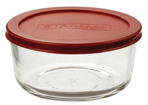 Anchor Hocking 8-Piece 4-Cup Round Food Storage Containers with Red Plastic Lid, Set of 4