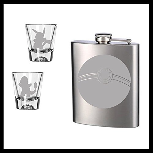 Flask and set of 2 etched shot glasses.shot glasses, Ball etched stainless steel flask.
