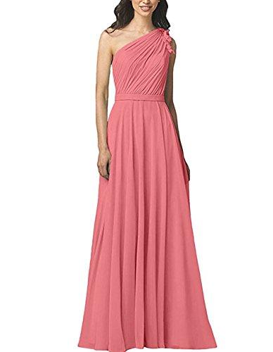 Prom Women's Bridesmaid Shoulder Coral Long Dress A Dress Chiffon BOwith One Line Floral aWqdpp4vS