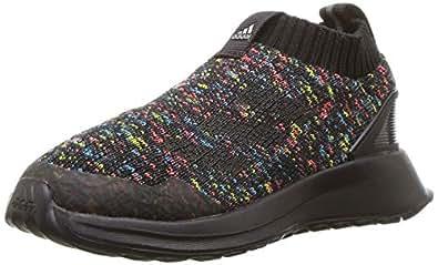 adidas Baby RapidaRun Laceless Knit Running Shoe, Black/Shock Cyan/Active red, 5K M US Toddler