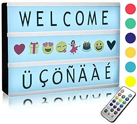 Caja de Luz Solotree A5 LED Lightbox de 12-colores con 159 Letras, Emojis Cartel Luminoso Cinematográfico Ideal para Decoración Vintage en Habitación, ...