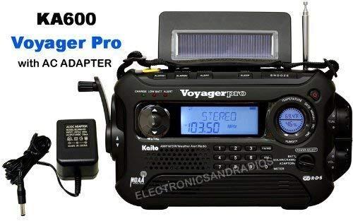 KA600 BLACK Solar/Crank AM/FM/SW NOAA Weather Radio, BONUS AC adapter/charger, 5-LED reading lamp, 3-LED flashlight, thermometer & humidity meter (Kaito) by ER-RADIO by ER-RADIO