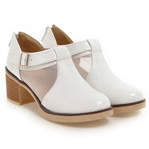 210bdade45 AIYOUMEI Damen Knöchelriemchen Blockabsatz Pumps mit 6cm Absatz und  Schnalle Bequem Schuhe Weiß ...