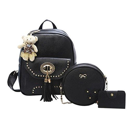 Casual Wallet 3pcs Crossbody Backpack Bag Black Women Leather School Rucksack Shoulder Bag ChainSee Tassel White 7Fz4P0Y