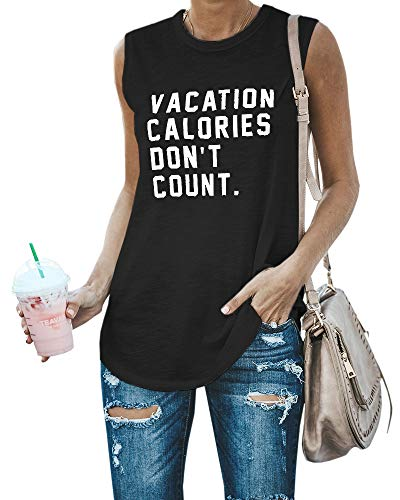 (Jeanewpole1 Womens Letter Print Tank Tops Crewneck Sleeveless Food Lover Casual T Shirts)