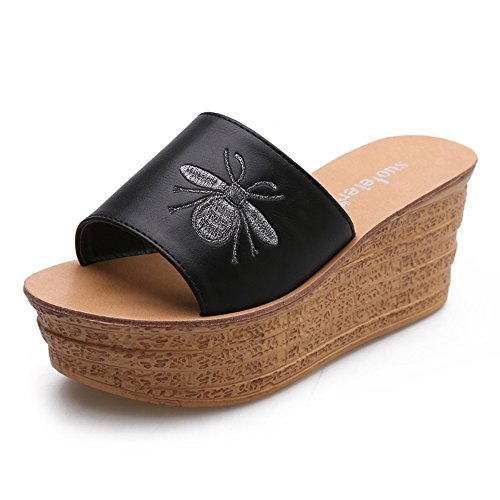Señoras Negro Negro cn40 Fresco Tamaño Sandals Moda color Elegante Negro Eu39 uk6 blanco Tacón Impermeable Chanclas Duo Alto 5 Zapatillas Tabla De q1IwFgx