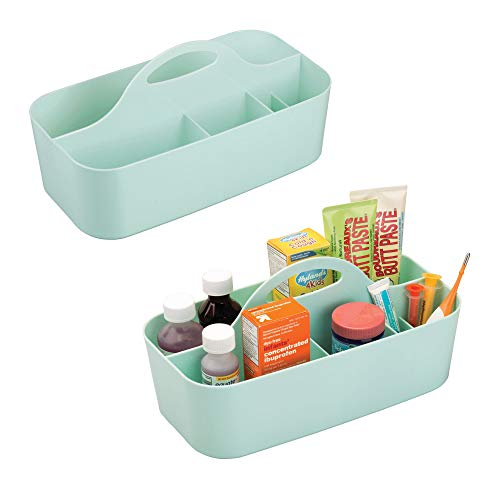 mDesign Plastic Portable Nursery Storage Caddy Tote - BPA Free - Divided Basket Bin with Handle for Organizing Bottles, Spoons, Bibs, Pacifiers, Diapers, Wipes, Baby Lotion - Pack of 2, Large, Mint from mDesign