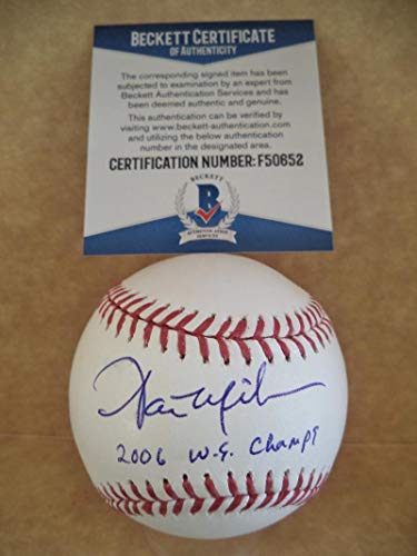 AARON MILES 2006 W.S. CHAMPS SIGNED 2006 WORLD SERIES BASEBALL BECKETT - 2006 Champs World Series