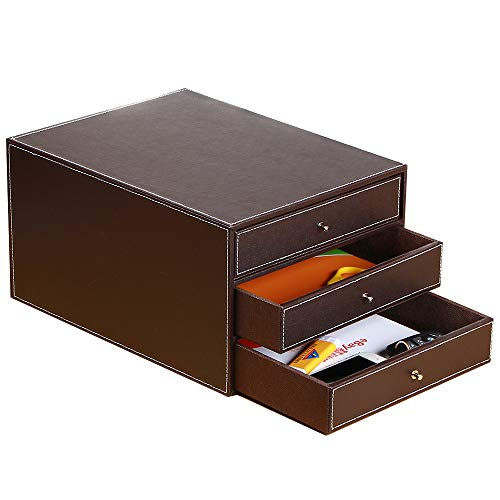 Office Desk Supply Organizer Leather Letter Trays, 3 Drawers Files Sorter Cabinet Document Holder Workplace Desktop Storage Box for Stationery/A4 Paper/Magazine/Book/Newspaper/Jewelry/Sundries (Brown)