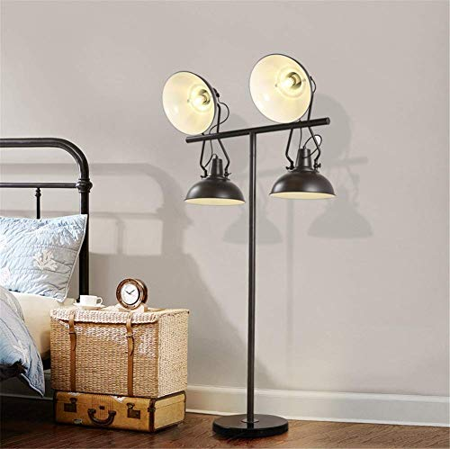 (Floor Lamp Industrial Retro E27 4 Head Stage Searchlight Photography Light Projection Standing Lamp Adjustable Shade Black Wrought Iron Marble Base Floor Light 1.75M with Foot Switch)
