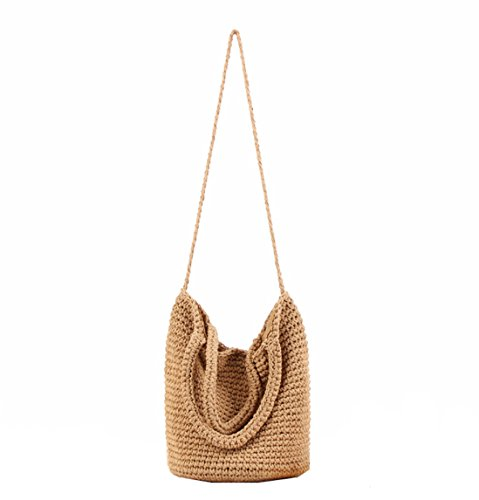 (Andear Womens Cotton Woven Top Handle Handbag Crochet Bucket Bag Summer Beach Vacation Tote Shoulder Bag Brown)