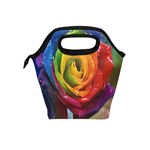 Beautiful Rainbow Rose Drops Insulated Lunch Bag Box Cooler Reusable Tote Bag Outdoor Travel Picnic With Shoulder Strap for Adults or Kids. (Opus Strap)