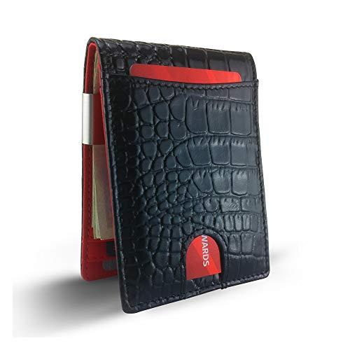 Ostrich Slim Wallet - Canberra Series Exotic Money Clip Wallet Slim Minimalist RFID Blocking Bifold Gift Box Crocodile Alligator Ostrich Python Snakeskin (Black Crocodile)
