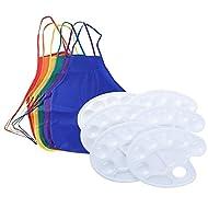 Sparklelife Kids Children Fabric Apron Smock 6 Color Painting Art Paint Tray Palette Kit 6 Pack