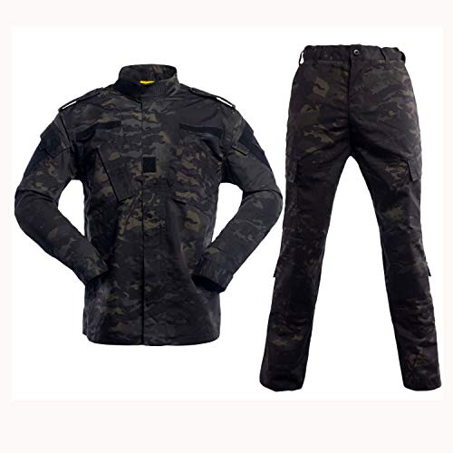 Men's Tactical Jacket and Pants Military Camo Hunting ACU Uniform 2PC Set (Bdu Uniform Pants)
